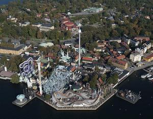Flygbild över nöjesparken Gröna Lund i Stockholm. Dock inte tagen 1960, utan från senare år. Foto: TT