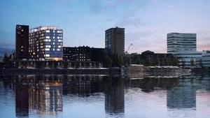 Hotellet kommer bli 13 våningar högt, ha en skybar med utsikt över älven och restaurang av en internationellt erkänd stjärnkock. Foto: Arkitektbyrån Krook & Tjäder