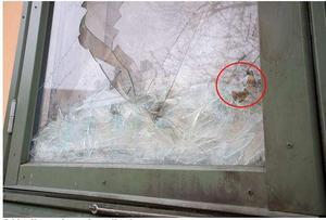 Att det var treglasfönster i kvinnans lägenhet, hindrade branden från att spridas ytterligare – den innersta glasrutan gick inte sönder. Bild ur polisens förundersökning.