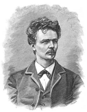 August Strindberg. Xylografi av Ida Falander från 1882.