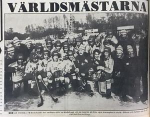 Laget som blev världsmästare i Chabarovsk 1981. Utdrag ur Ljusnan, måndag 16 februari 1981.