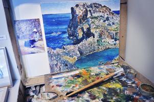 Havet och klippan målades 1977 i Lindos, Rhodos. foto/arkiv: Katarina Hansson