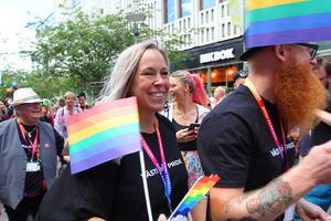 Ulrica Martinsdotter, från Västerås Pride styrelse, är nöjd med årets arrangemang.