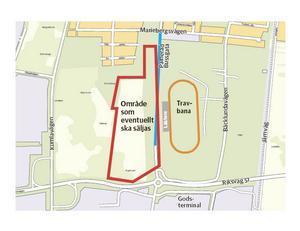 Här vill Örebro travsällskap sälja 15.74 hektar mark bakom huvudläktaren i Marieberg.