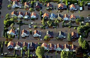 2015 översvämmades delar av Hallsberg. Hela villaområden stod under vatten efter ett häftigt regnande.
