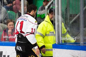 Aaron Palushaj tvingades lämna matchen mot Rögle i mitten av andra perioden, med en befarad hjärnskakning. Foto: Ludvig Thunman/Bildbyrån