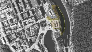 Den gula markeringen visar det område som ingår i kvarteret Lyran.Karta: Södertälje kommun