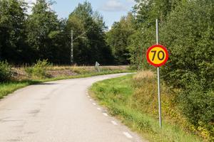 Skyltningen på Sundbovägen utgår ifrån att 70 kilometer i timmen är bashastigheten utanför tättbebyggt område.