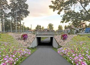 Blomster. Vid tunneln under E20 ska det grönska av sommarblommor. Ungefär så här kan det se ut. Bildmontage: Laxå kommun/Mölltorps trädgårdsinredningar