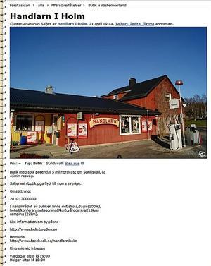 Nu annonseras livsmedelsbutiken i Holm åter igen ut på Blocket. I november stängdes butiken och den har varit ute för försäljning sedan dess.