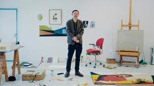 Foto: Oskar OmneKonstnären Jens Fänge ställer ut sina målningar på Bonniers konsthall i Stockholm.