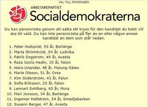 Socialdemokraternas valsedel inför riksdagsvalet i Dalarna. S förlorade ett av fyra mandat på dalabänken.Skärmdump.