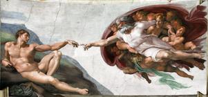 Michelangelos målning från 1512 där Gud rör vid Adam och ger honom liv.