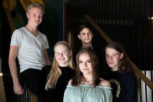 Från vänster: Niklas Persson, Ida Olsson, Gabriel Andersson, Wilma Manninen och Greta Carnbring.