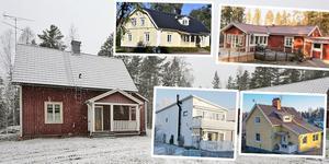 Ett montage med några av de hus i Dalarna som var mest klickade på Hemnet under förra veckan. Fler bilder ses längre ner.