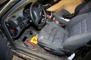 Foto från polisens förundersökning. Denna beslagtagna Audi som beslagtogs efter en kollision i Idkerberget bedömdes vara värd 500 kronor.