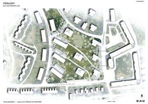 På skissen syns de tänkta tre nya punkthusen som fyrkanter i mitten, mellan Strindbergsvägen, Folkparksvägen, Höglandsvägen och Bellmansvägen.