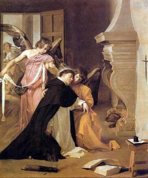 Katolska kyrkans store teolog Thomas av Aquino vägleds av änglar i denna målning av Diego Velázquez från 1632.