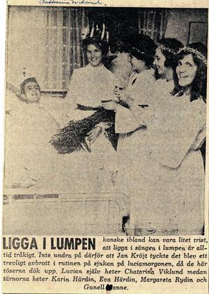 Tidningsurklipp när Blå Stjärnans deltagare överraskade med sitt luciatåg.