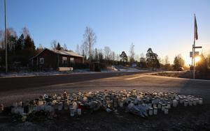 Platsen där den 14-åriga flickan avled efter hon blivit påkörd.