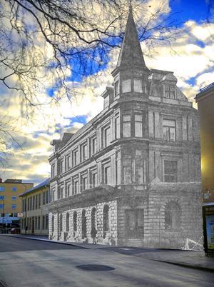 Det här montaget visar var huset låg i förhållande till dagens fastigheter. Där huset stod, vid Törnstens gränd, har ÖP nu sin personalparkering.
