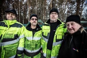 Samuel Sundkvist, Leif Ljungberg, Roine Friberg och Vellamo Möttönen ingår i staben som åker runt i Falun och Borlänge för att ta reda på dumpningarna som sker.