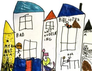 Vi bad den unga världsmedborgaren Nikki Gustavsson illustrera sina tankar om nytt kulturhus. Kattavdelning,  bad och