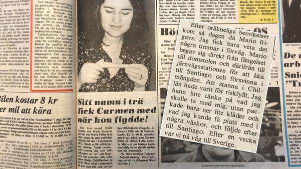 Utdrag från artikeln om familjen Cabezas i Fagersta-Posten den 6 februari 1976. I textrutan får man veta vad som hände när Mario Cabezas släpptes från fängelset.