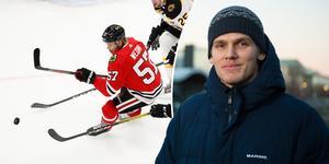 Anton Wedin fick nyligen återvända till NHL-laget Chicago Blackhawks efter att ha inlett säsongen i AHL. Nu hoppas 26-åringen på att få debutera inom kort. Bild: TT och ST Arkiv