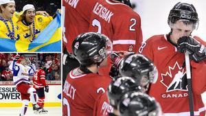 Filip Forsberg och Mika Zibanejad jublar efter JVM-guldet mot Ryssland, som slog ut Kanada i en dramatisk semifinal. Foto: TT