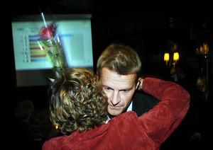 2006. Blivande kommunalrådet Christer Berglund (S) får en kram efter valresultatet.
