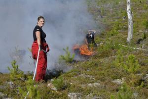 Skogsbrand ovanför Särnaheden där Maria Ramström och Robin Persson var med och släckte innan den spreds vidare. Respekten från fjolårets brand är stor i området.