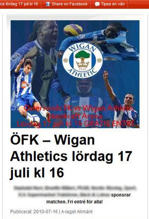 Sollefteåbons flyttfirma stod som sponsor för en match mot Wigan under 2010.