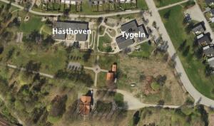 En ny förskola planeras på den tomt där Tygeln och Hästhoven finns idag. Den nya jätteförskolan skulle få en stor förskolegård, som gränsar till parkmiljön vid Igelsta gård. Skiss: Södertälje kommun