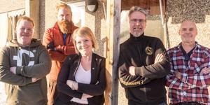 Jimmy Eriksson, vd, Fredrik Dübbel, Desireé Eriksson, Jonas Olsson och Alf Regnander, alla delägare i nystartade North Cable and Assembly. Kjell och Kenny Eriksson samt Johan Johansson, även de delägare, saknas på bild.