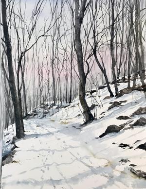 Numera målar Peter Eugén landskap i akvarell. – Akvarell och landskap är trendigt igen, och det kan vi tacka Lars Lerin för, säger han.