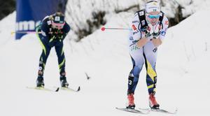 Emma Wikén i landslagsdressen under Tour de Ski, 2017/18. Dit vill hon tillbaka. Foto: TT