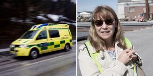 Den skadade mannen fick föras till sjukhus med ambulans. Ulrika Porath är pressansvarig för affärsområdet SMT inom Sandvik.