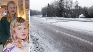 Systrarna Emelie och Isabelle Lundberg slipper från och med nu gå till skolan på en väg som delvis bedömts som trafikfarlig. I höjd med Klackberg finns en så kallad gångpassage över riksväg 68. Den är inte säker nog för barns skolväg enligt förvaltningsrätten.