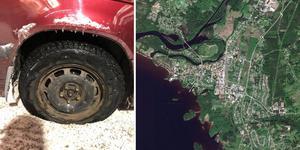 Flera bilägare i Orsa har fått sina däck sönderskurna. Foto: Malin Hellberg. Karta: Google.