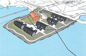 Fem flerfamiljshus som komplement till den bevarade kontorsbyggnaden. I de tre översta förslagen anlägger kommunen en strandpromenad runt hela udden.