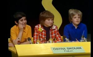 Det vinnande laget 1972. Från vänster, Johan Tysk, Eva Lanner och Johan Miller. Skärmdump: Sveriges television