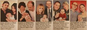 Annonsen över de nyfödda 1 april 2004. Johan Kretz, i annonserna kallad Efraim Pater, finns med i alla annonserna – ett lyckat aprilskämt!
