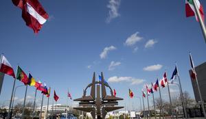 Gott om flaggor. Nato har många medlemsländer, men Sverige och Finland står utanför. Foto: AP/TT