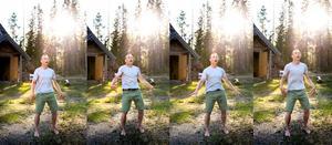 Roger Kangas utför Shaking yoga i Lomtjärn i Njurunda.