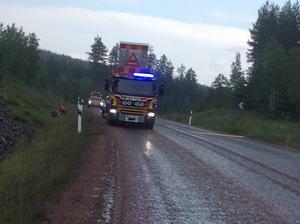 Räddningstjänsten är på plats under räddningsarbetet.
