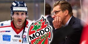 Conny Strömberg, som spelar med Örnsköldsvik Hockey, och Björn Hellkvist. Foto: Johan Löf/Bildbyrån.