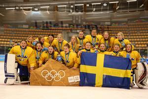 Ungdoms-OS har arrangerats sedan 2010. Här Sveriges flicklandslag som vann hockeyturneringen 2016 i Lillehammer. Foto: IOK/Bildbyrån