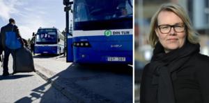 Tidigare förbundsdirektör Camilla Fahlander kostar krisdrabbade Din Tur – och skattebetalarna över en miljon kronor.