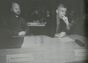 Företrädaren och efterträdaren. Stig, till vänster, flyttade in på nionde våningen i kommunhuset efter valåret 1998. Då fick förre kommunalrådet Kjell Olsson (S) packa ihop.